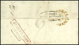 """ALTONA SCHIFFS-BRIEF"", Oval-Stempel Rückseitig Auf Komplettem Faltbrief Aus NEWCASTEL AU.9.1837 Mit..."