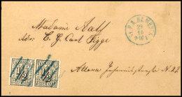 1/2 Schilling Schwarz, Zwei Exemplare überlappend Als Paar Geklebt Auf Brief Ab Hamburg Nach Altona, Je Sauber...