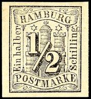 1/2 Schilling Schwarz, Vollrandig, Ungebraucht Mit Originalgummierung, Gepr. Pfenninger, Mi. 130.-, Katalog: 1...