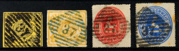 """""""37"""" - SCHOENINGEN, Je Zentrisch Auf Vier Verschiedenen Marken, In Schwarzer Stempelfarbe Auf MiNr. 11 (tadellos),..."""