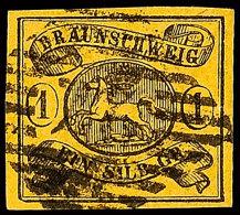"""""""27"""" - Klein-Rhüden, Recht Klar Und Zentrisch In Schwarz Auf Vollrandiger 1 Sgr. Schwarz Auf Braungelb,..."""