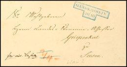 GANDERSHEIM, Klarer Hammerstempel In Blau Auf Luxusbriefhülle, 1857  BFGANDERSHEIM, Clear Hammer Stamp In...