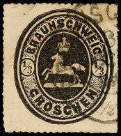 """1/3 Gr. Schwarz, Tieffarbiges Exemplar Mit K2 Von """"BRAUNSCHWEIG"""", Unauffällig Repariert, Gepr. Glasewald (GL)..."""