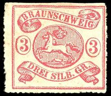 3 Sgr. Durchstochen 16, Tadellos Ungebraucht Vollem Originalgummi Und Falzresten, Oben Scherentrennung, Sonst Gut...