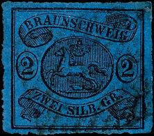 2 Sgr. Durchstochen, Schwarz Auf Dunkelblau, Tadellos Gestempelt, Mi. 420,--, Katalog: 15A O2 Sgr. Rouletted,...