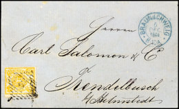 1 Sgr. Lebhaftgelbocker Linienförmig Durchstochen 12, Tadelloser Durchstich, Als EF Auf Brief Von Braunschweig...