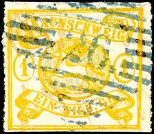 """1 Sgr. Gelbocker Mit Bogenförmigem Durchstich (unten Scherentrennung) Mit Seltenem Stempel """"26"""" (Hehlen),..."""