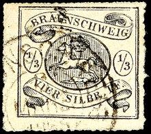 1/3 Sgr. Schwarz, Bogenförmiger Durchstich, Sauber Gestempelt, Repariert, Signiert Brettl BPP, Mi. 2.800,-,...