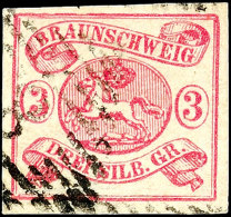 3 Sgr. Rosa, Allseits Breitrandig, Gestempelt, Kleine Helle Stelle, Signiert Lange BPP, Mi. 280,-, Katalog: 12Aa...