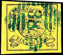 """1 Sgr. Schwarz Auf Gelb, Farbfrisch, Voll- Bis Breitrandig, Zentrischer Blauer Stpl. """"38"""" ( Schoeppenstedt),..."""