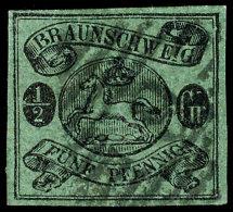 "1/2 Gr Schwarz Auf Lebhaftgraugrün (dickes Papier) Sauber Gestempelt, Sign. ""ABH"", Mi. 500,--, Katalog: 10A..."