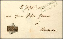 2/4 Ggr. Gelbbraun, Glattes Papier (obere Hälfte), Auf Brief Mit Nr.-Stpl. Kleine 9 Von BRAUNSCHWEIG 8/11 Nach...