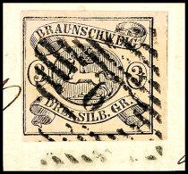 """3 Sgr. Schwarz Auf Mattrosa, Farbfrisch, Allseits Voll- Bis Breitrandig Auf Briefstücke, Gestempelt """"9"""",..."""