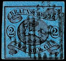 """2 Sgr. Schwarz Auf Blau, Allseits Voll- Breitrandig, Gestempelt """"9"""", Kabinett, Gepr. Lange BPP, Mi. 80,-, Katalog:..."""