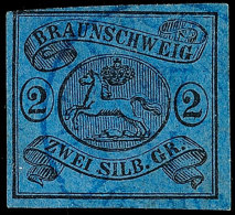 2 Sgr. A. Blau, Farbfrisches, Voll/breitrandiges Kabinettstück Mit Auf Dieser Marke Besserer...