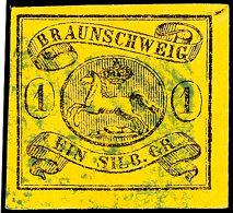 """1 Sgr. Schwarz Auf Braungelb Allseits Breitrandig, Gestempelt """"47"""", Gepr. Pfenninger, Kurzbefund Lange BPP: """"echt..."""