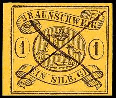1 Sgr. A. Mittelchromgelb, Wz.-Mundstück Nach Links, Leuchtend Farbfrisches, Allseits Voll/breitrandiges...