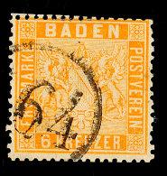 """164"" (Einring) - BAHNPOST, Klarer Teilabschlag ""64"" Auf Kabinettstück 6 Kr. Hellgelborange, Katalog: 11b..."