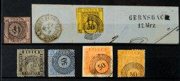"""""""50"""" - GERNSBACH, Je Klar Auf MiNr. 4 B, 7 Briefstück Mit Neben Gesetztem L2, 9, 10 B, 11 A Vollzähnig..."""