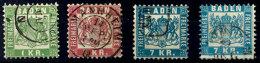 1 Kr., 3 Kr. Und 7 Kr. In Beiden Farben Je Tadellos Gestempelt, Kabinett, Mi. 195,--, Katalog: 23/25a+b O1 Kr.,...