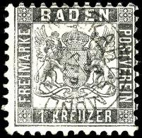 """1 Kr. Grauschwarz, Zentrisch K2 """"NECKARGEMÜND 8 SEP."""", Mi. 380,-, Katalog: 17c O1 Kr. Gray Black, Centric..."""