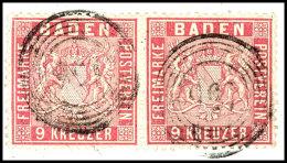 """9 Kr. Karmin, Vollzähniges Waager. Paar Auf Briefstück, Sehr Gut Zentriert, Je Sauberer 5-Ring """"156""""..."""
