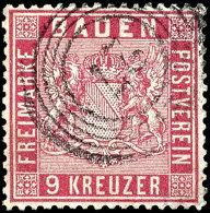 """9 Kr. Karmin, Vollzähnig, Sehr Gut Zentriert, Sauberer 5-Ring """"27"""" (Donaueschingen), Mi. 220,-, Katalog: 12..."""