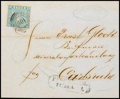 """3 Kr. Lebhaftpreußischblau Auf Brief Von """"PFORZHEIM 21 JUN 1861"""" Nach Carlsruhe, Katalog: 10a BF3 Kr...."""