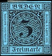 3 Kr. Schwarz Auf Blau, Farbfrisch, Allseits Vollrandig, Ungebraucht O.G., Mi. 850,-, Katalog: 8 (*)3 Kr. Black...