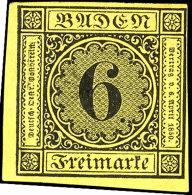 6 Kr. Schwarz Auf Gelb, Allseits Voll- Bis Breitrandig Aus Der Linken Unteren Bogenecke, Ungebraucht, Mi. 700,-,...