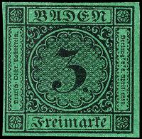 3 Kr. Schwarz Auf Grün, Farbfrisch, Allseits Voll- Bis Breitrandig, Ungebraucht, Mi. 400,-, Katalog: 6 *3...