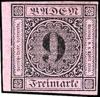 9 Kr. Schwarz Auf Lilarosa, Farbfrisch, Allseits Vollrandig Vom Linken Bogenrand, Ungebraucht, Mi. 250,-, Katalog:...