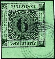 6 Kr. Grün, Bogenecke Unten Rechts Sauber Gestempelt Mit Vierringstempel, Links Badentypisch Durch Schnitt...