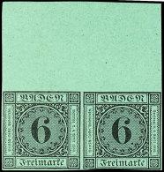 6 Kr. Schwarz Auf Grün, Neudruck, Waager. Paar Mit 25 Mm Oberrand, Postfrisch, Rechte Marke Unten Randlinie...