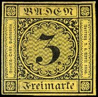 3 Kr. Schwarz Auf Gelb, Farbfrisch, Allseits Breitrandig, Ungebraucht, Mi. 300,-, Katalog: 2b *3 Kr. Black On...
