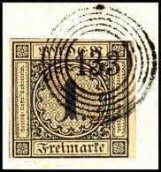 1 Kr. Schwarz Auf Gelbbraun, Farbfrisch, Allseits Voll- Bis überrandig Vom Rechten Bogenrand, Klarer 5-Ring...