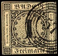 """1 Kr. Schwarz Auf B-Papier Tadellos Gestempelt Mit Fünfringstempel """"57"""", Mi. 320,--, Katalog: 1b O1 Kr...."""