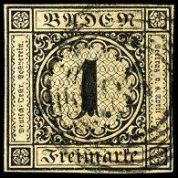 1 Kr. Schwarz 1. Auflage Tadellos Gestempelt Und Sehr Gut Geschnitten (lediglich Rechts Kleine Stelle Lupenrandig,...
