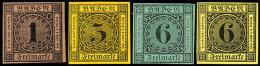 1 Kr. Rotbraun,  3 Kr. Bräunlichgelb, 6 Kr. Grün Und Gelb, 4 Neudrucke, Je Voll- Bis Breitrandig,...