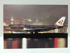 China Hong Kong Kai Tak International Airport Postcard, Airplane, Plane, Night View Of Thai Airways 747-700 - Cina (Hong Kong)