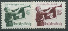 Deutsches Reich 1935 Welttreffen HJ Waag. Gummiriffelung 584/85 Y Mit Falz