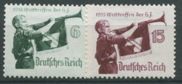 Deutsches Reich 1935 Welttreffen HJ Senkr. Gummiriffelung 584/85 X Mit Falz