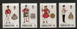 GIBRALTAR SG340/3 1975 MILITARY UNIFORMS MNH