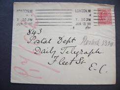 GB Cover Jun 18 1908 - Machine Cancelation London W. - Stamp King Edward VII. One Penny