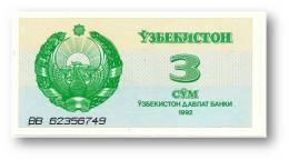 UZBEKISTAN - 3 SUM - 1992 ( 1993 ) - Pick 62 - UNC. - Serie BB - Ouzbékistan
