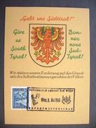 Karte GEBT UNS SÜDTIROL! - Werbestempel Österreich Grüsst Die Welt - Wien 9. Mai 1946 Exportmusterschau