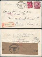 AK338 Lettre Recommandée Censurée De Souvret à Genève Suisse 1942