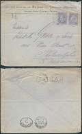 AK342 Lettre Privée De Merbes Le Chateau à Philadelphia USA 1900 Pair 25cent