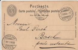 Zurich & Basel Brf. Exp. Distr. 1904 Sur Carte Entier - Ganzsache