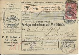 Deutsches Reich Paketkarte 1911 Plauen -London ( Mängel )